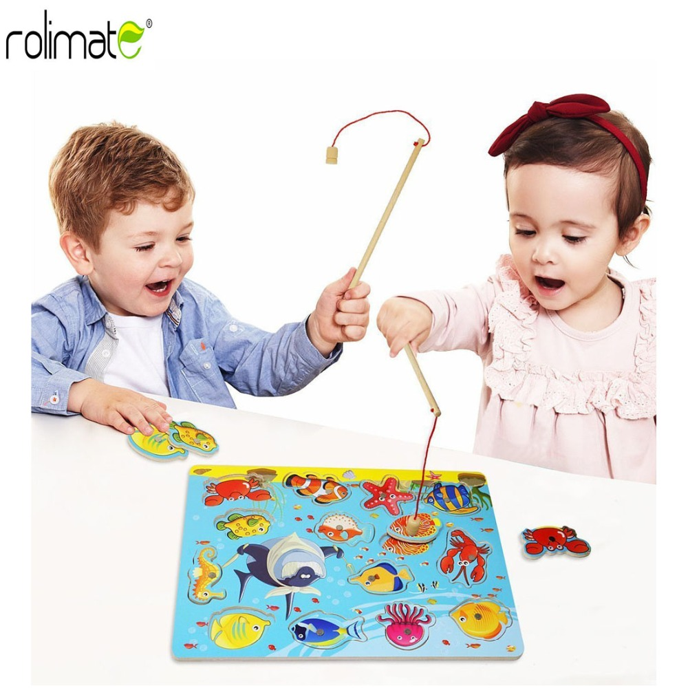 Baby Educational Toys 14Pcs Fish Wooden Magnetic Fishing Toy Set Fish Game Educational Fishing Toy Child Birthday/Christmas Gift