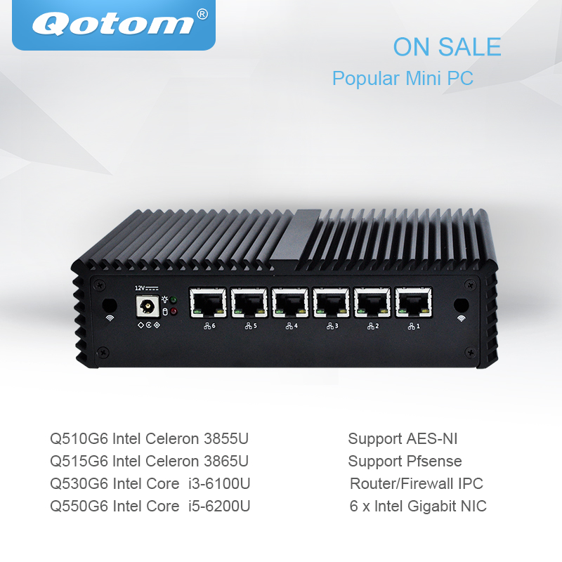 Qotom Mini PC Pfsense 6 Gigabit Micro pc Core i3 i5 Fanless Mini PC Computer AES-NI pfsense Firewall router Thin Client qotom pfsense mini pc i5 i3 micro computer linux ubuntu fanless mini pc server dual core firewall ase ni industrial computer