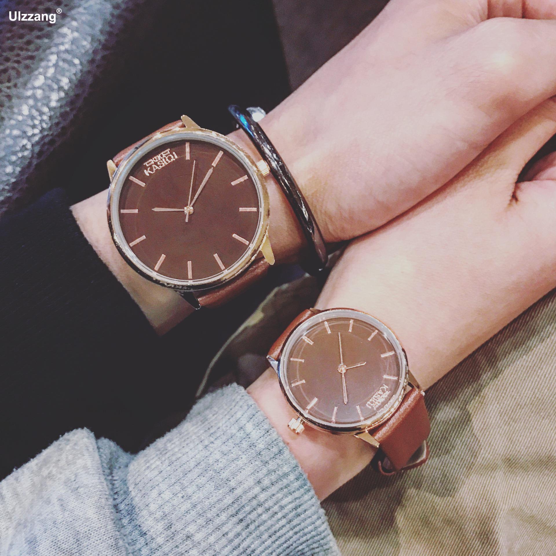 Top Brand Fashion Black White Watch Men Women Leather Quartz-watch