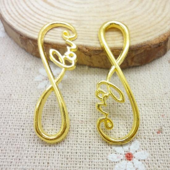65 Pcs Charms Infinity Symbol Love Connector Pendant Gold Color Zinc Alloy Fit Bracelet Necklace Diy
