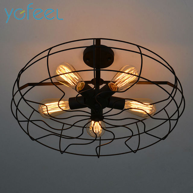 Ygfeel Ceiling Lights Vintage Retro Fan Lamps American Country Style Kitchen Lighting 5pcs E27 Holder