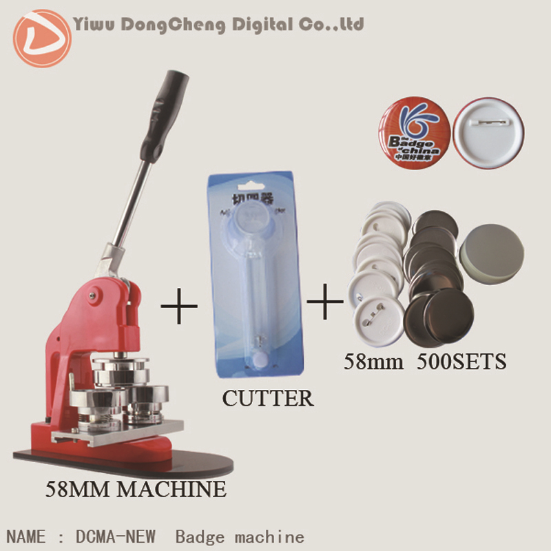 Free Shipping Button Badge Making Machine 58mm With Paper Cutter And Pin Badge Material 500sets