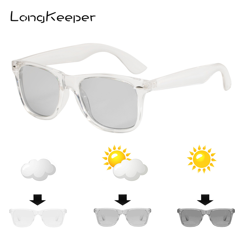 LongKeeper lunettes de soleil polarisées, photochromiques, UV400, monture transparente noire, pour hommes et femmes, tendance 1029 | AliExpress