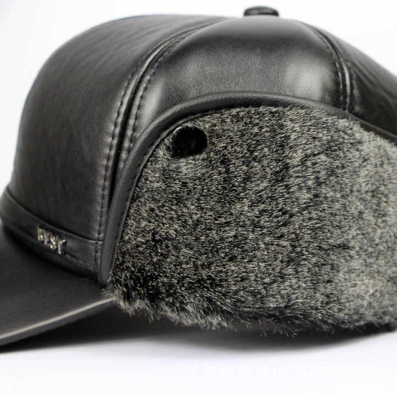 HT648 男性冬暖かい革爆撃機帽子ロシア帽子トラッパーキャップアビエイタートルーパー耳介帽子フェイクファーお父さん帽子野球キャップ