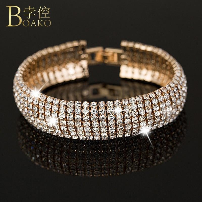 BOAKO Luxury Cubic zirconia bangles women Bangles Bracelets Rhinestone Gold plating Femme Jewelry Z5