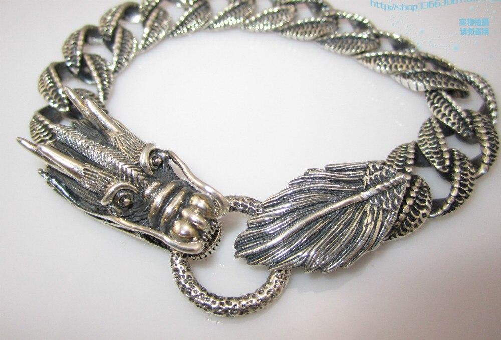 Bracelet Dragon pour hommes bijoux 100% 925 en argent Sterling bijoux de mode livraison gratuite 22 CM Antique