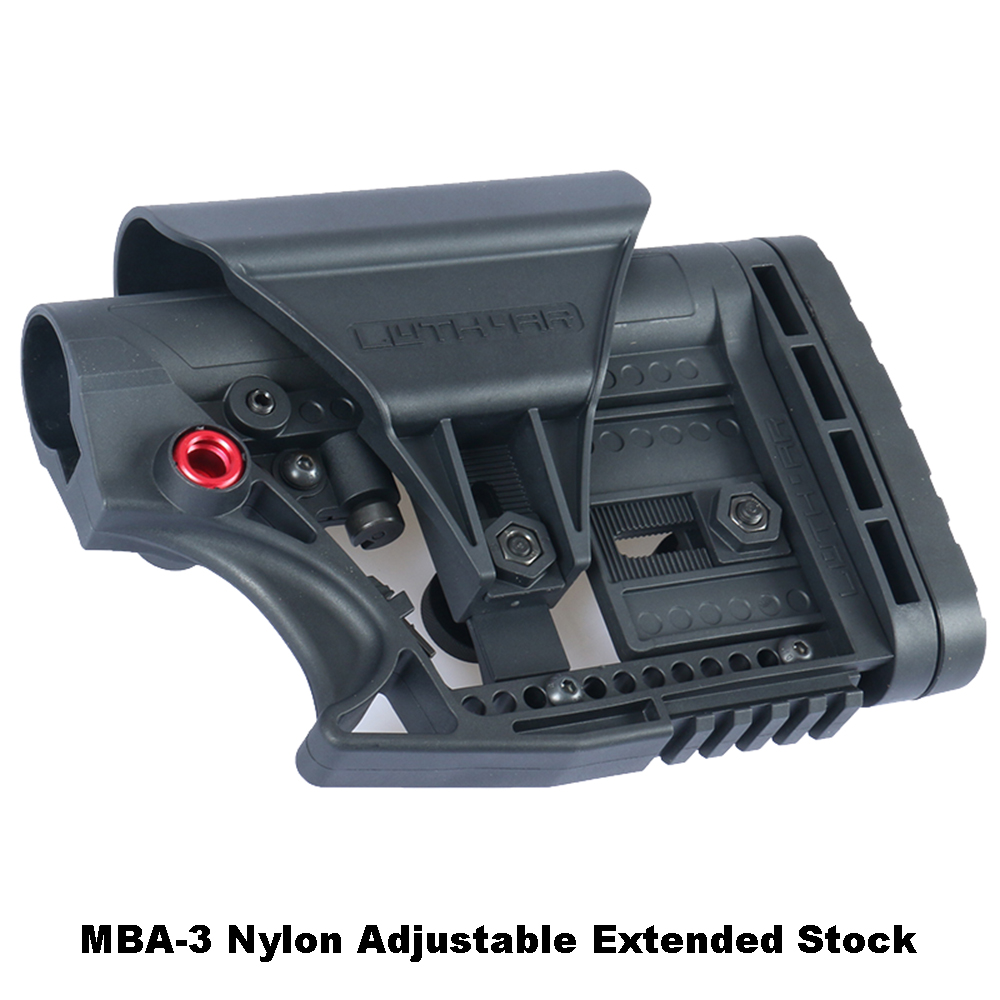 LUTH-AR-MBA-3 Adjustable Extended Stock For Air Guns CS Airsoft Tactical BD556 Nylon Buttstock Receiver Gearbox - Black And Sand