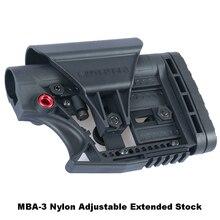 LUTH AR MBA 3 Stock extendido ajustable para pistolas de aire CS Airsoft Tactical BD556, caja de cambios receptora de botones de nailon, color negro y arena
