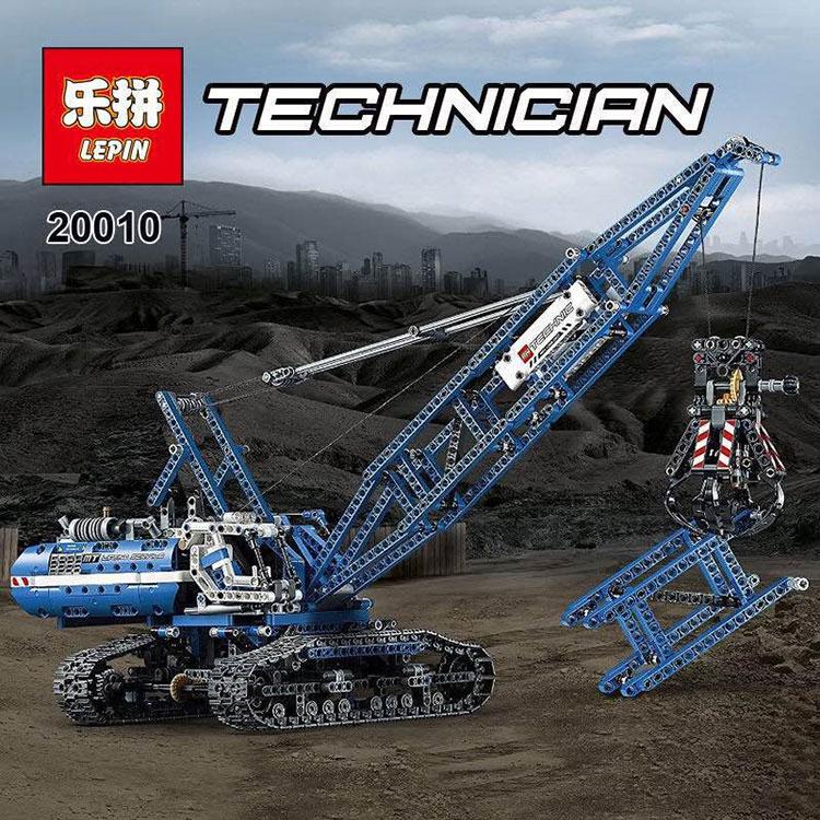 2017 New LEPIN 20010 1401Pcs Technic Series Crawler Crane Model Building Kits Blocks Bricks Children Toys Gift 42042 ювелирное изделие 20010