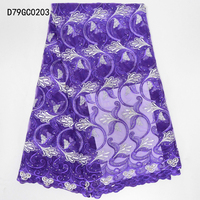 Luxury Lace fabric/African Tops Handmade Beaded Embroidery Tulle Lace Fabric/High Quality 3d African Lace Material D79GC02