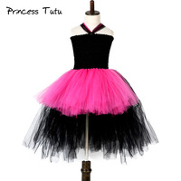 Popular Rockstar Girl Tutu Dress Hot Pink Baby Kids Birthday Party Performance Cosplay Tutu Dresses Halloween