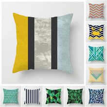 Fuwatacchi Colorful Geometry Pattern Cushion Cover Striped Printed Pillowcases Simple Casual Pillow Covers Home Sofa Decor