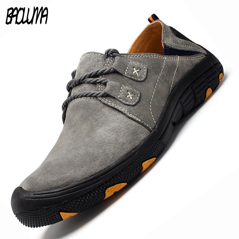 New Spring Autumn Men's Casual Shoes Split   Leather     Suede   Moccasins Loafers Breathable Driving Shoes Men Soft Bottom Men's Shoes