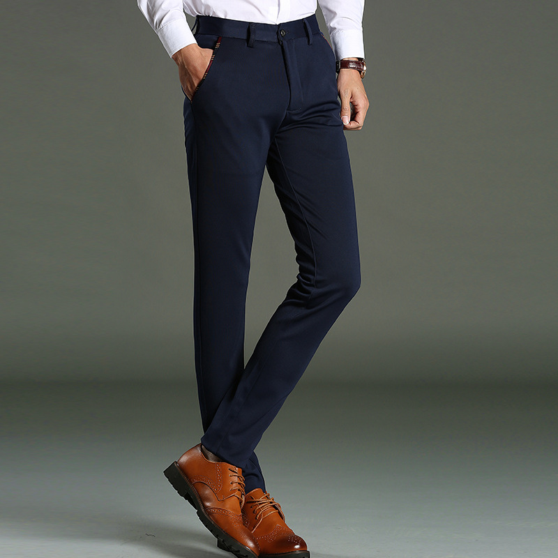 2018 New Mens Casual Slim Fit Pants Stretch High Quality Male Solid Suit Pants Fashion Autumn Business Black Trousers Size 28-40
