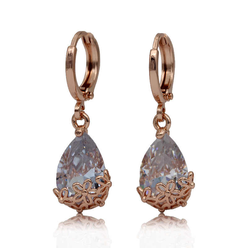 PATAYA nuevos pendientes largos de gota de agua blanca oro rosa estampado asimetría lindos pendientes colgantes joyería de moda de boda para mujer 585