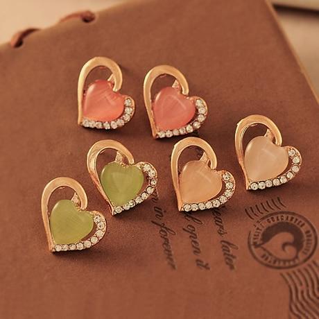 Прекрасный в форме сердца опал драгоценный камень горный хрусталь , зеленый , розовый бежевый серьги E164