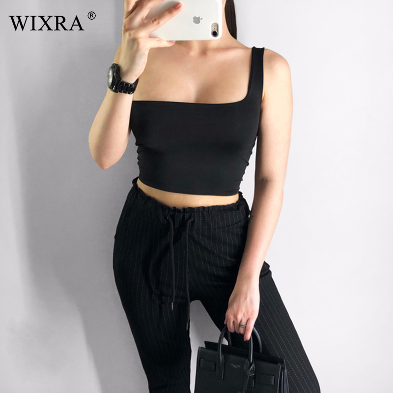 WIXRA Solid   Tank     Tops   2019 Summer New Casual One Shoulder   Tanks   Woman Clothing High Quality   Tops   For Female