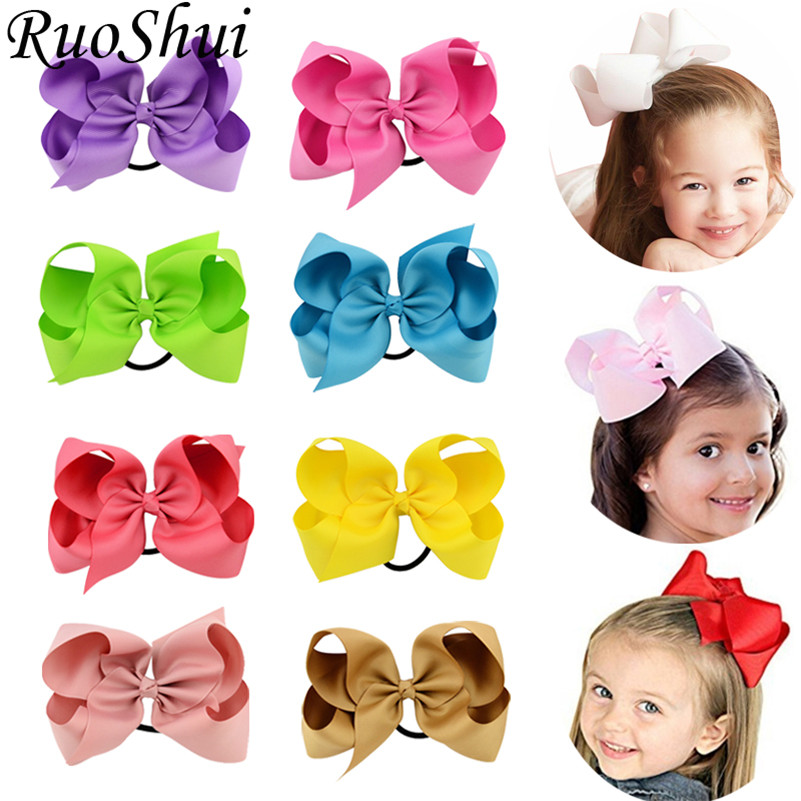 6 Inch Solid Big Bows Hair Ties Boutique Elastic Hair Bands For Girls Kids Scrunchies Rubber Hair Accessories Ponytail Holder