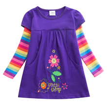 Girl Dresses Long sleeve Baby Girls Dress Embroidered Rainbow Children Sleeve Clothes Patchwork Infant Vestidos H5802