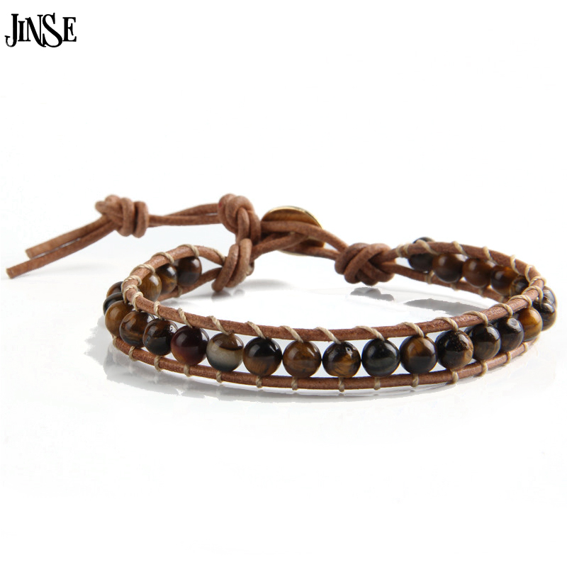 Jinse Leather Bracelet Men Women 1 Layer Natural Stone Bead Bracelets Bangles Beaded With Real Cord In Wrap From
