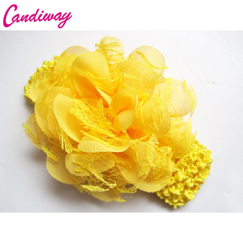 2017 Yellow Princess Fabric Kids Lace Band Flower Headband Newborn Ring Wrap Hair Elastic bands Headwear Hair Accessories 1pcs