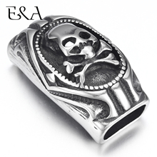 Stainless Steel Slider Beads Punk Skull 12*6mm Hole Slide Charms for Mens Leather Bracelet Jewelry Making DIY Accessories