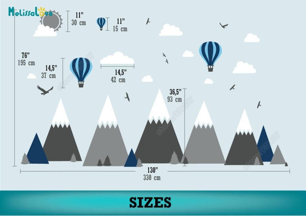 Großes Baby Zimmer Aufkleber Adventure Theme Decor Riesige Mountain Cloud Vogel Heißen Ballon Kinderzimmer Abnehmbare Vinyl Wandaufkleber JW375 - 4