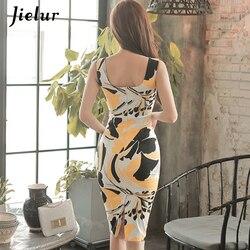 Jielur moda drukowane bez rękawów Midi urocze seksowne kobiety sukienki OL Slim pakiet Hip Sukienka lato plac dekolt w stylu Vintage Sukienka 3