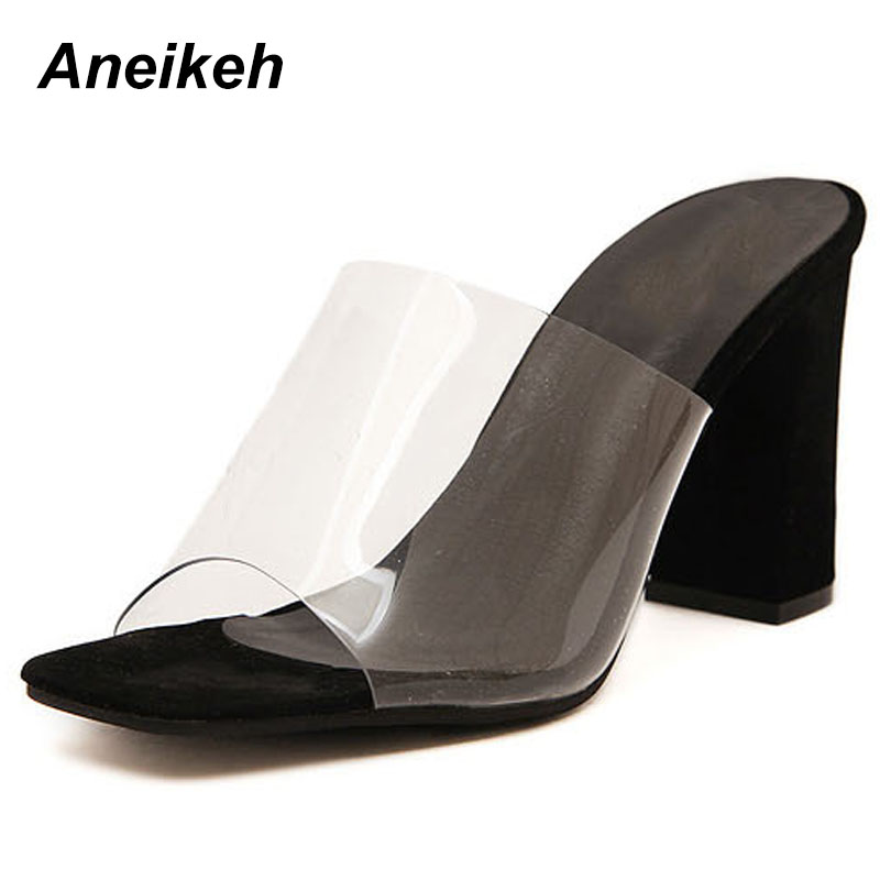 Aneikeh 2019 PVC Summer Sandals Shallow Rome Square Heel Ladies Thick Sandals Fashion Open Toe Flip Flops Slip-On Woman Shoes Aneikeh 2019 PVC Summer Sandals Shallow Rome Square Heel Ladies Thick Sandals Fashion Open Toe Flip Flops Slip-On Woman Shoes