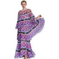 2017 New Arrival Runway Style Women S Designing Layers Bud Dresses Maxi Long Printed Cascading Ruffle