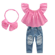 Baby Girl Clothes Toddler Kids Summer Ruffle Outfits 3PCS Off Shoulder Tops + Denim Ripped Jeans Pants+ Bow Headband Outfit Set цена 2017