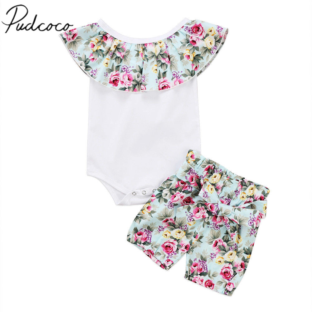 2017 Brand New Casual Newborn Toddler Infant Baby Girl Cotton Romper Crop Tops Shorts 2Pcs Outfit Floral Clothes 0-24M 2pcs ruffles newborn baby clothes 2017 summer princess girls floral dress tops baby bloomers shorts bottom outfits sunsuit 0 24m