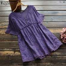 ZANZEA moda bordado Blusas túnica de las mujeres Vintage 2021 camisas de manga corta de mujer con cuello en V Blusas Tops mujer S-5XL
