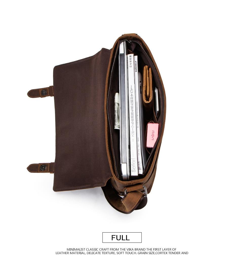 HTB1BAFEajnuK1RkSmFPq6AuzFXa6 100% Genuine Leather Briefcase Men Vintage Real Crazy Horse Leather Messenger Shoulder Business Laptop Bag Case Office Handbag