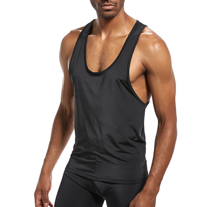 2018 New Simple Style Men's Fitness Slim Vest Shirt Bodybuilding Casual Sporting Racerback   Tank     Top   Gyms Work Out Clothing