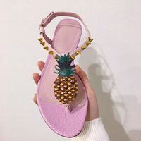2017 New Arrival Gold Pineapple Rivets Embellishments Summer T Strap Flat Sandals Fashion Wedding Party Dress