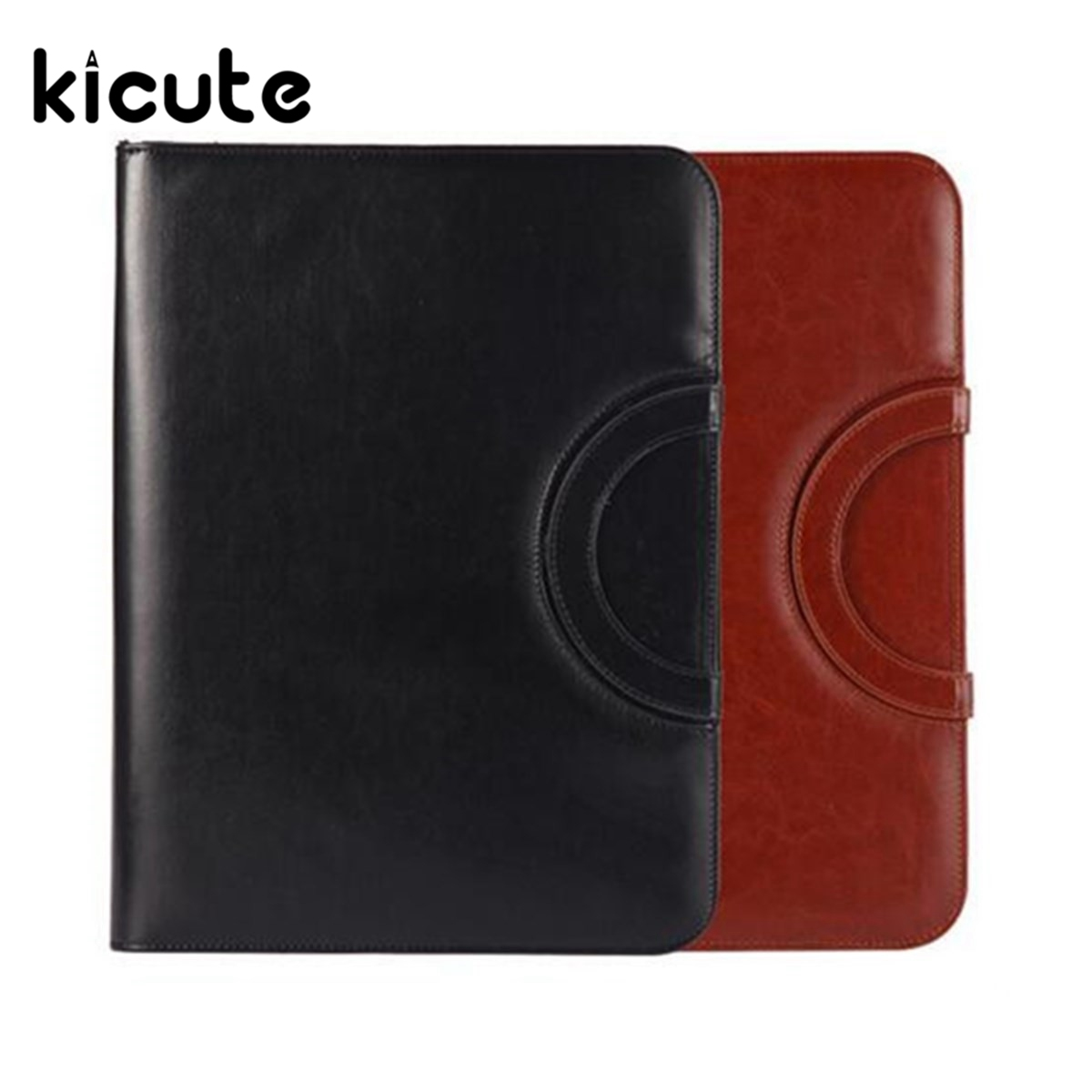Kicute 1pc Brown/Black A4 PU Leather Zipped Ring Binder Conference Folder Document Bag Business Briefcase Office School Supplies blel hot high quality leather folder a4 briefcase bussiness conference folder black
