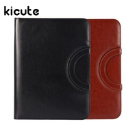 Kicute 1pc Brown/Black A4 PU Leather Zipped Ring Binder Conference Folder Document Bag Business Briefcase Office School Supplies