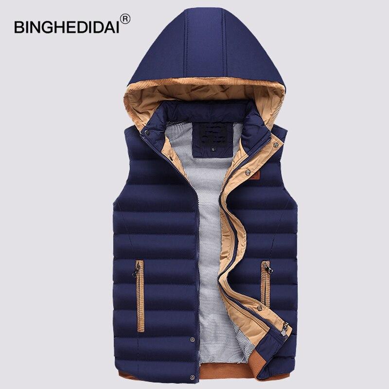 Для мужчин s жилет куртка с капюшоном фугу хлопковый жилет пальто теплый стеганый жилет без рукавов парка Вельветовая куртка-бомбер жилет Д...