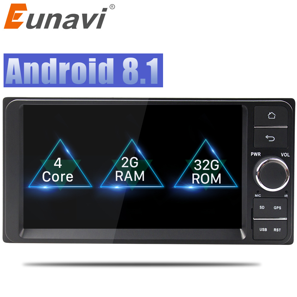 Eunavi Quad core 2 din Android 8,1 2G Оперативная память dvd-плеер автомобиля для Toyota Hilux VIOS старый Camry Prado RAV4 Prado 2003-2008 автомобилей Радио
