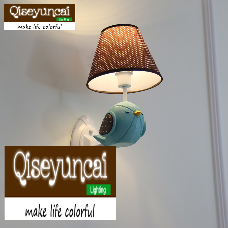 Qiseyuncai American bird children's room wall lamp simple boy girl bedroom resin lamp free shipping qiseyuncai children s room england soldier bear legion wall lamp boy girl bedroom soft decoration lighting free shipping