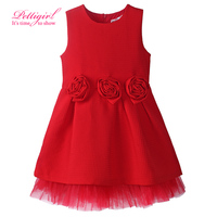 New 2017 Girl Red Autumn Dress Fashion O-Neck Princess Girls Guaze Dresses Kids Everyday Wear With Flower GD80915-169F