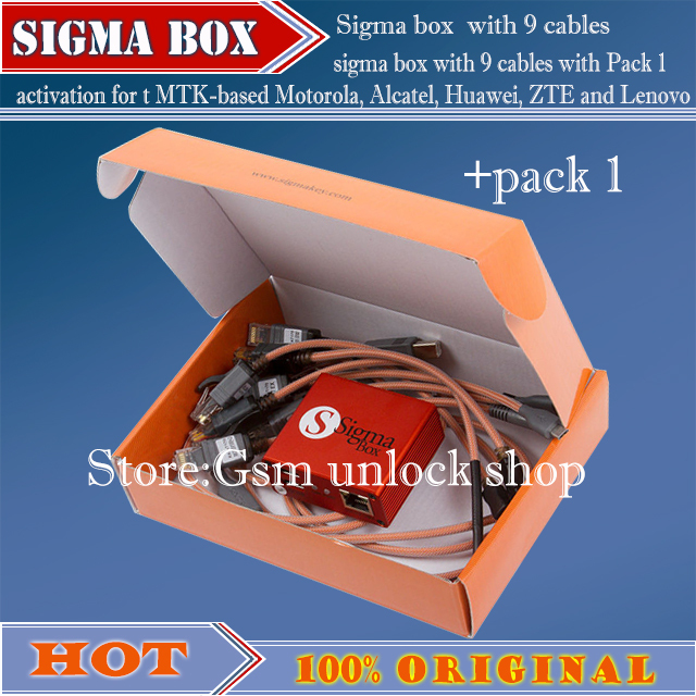 Free Shipping +sigma box with 9 cables with Pack 1 activation for t MTK-based Motorola, Alcatel, Huawei, ZTE and Lenovo