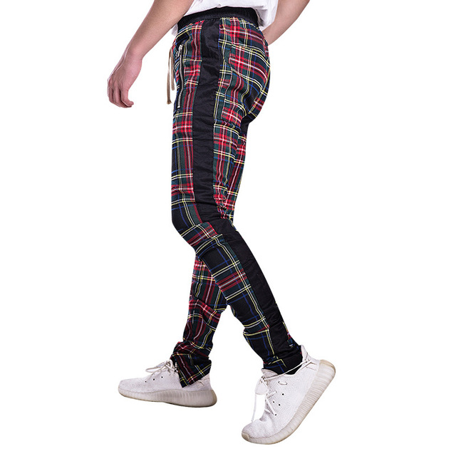 NEDAYATATIME Justin Bieber Scottish Plaid Skinny Pants  Drawstring Ankle Strap Zip Patch chinos pants slim fit vintage pants
