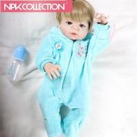 NPK57cm Soft Full Body Silicone Reborn Dolls Baby Realistic Doll Reborn 22 Inch Full Vinyl Boneca BeBe Reborn Doll For Girls