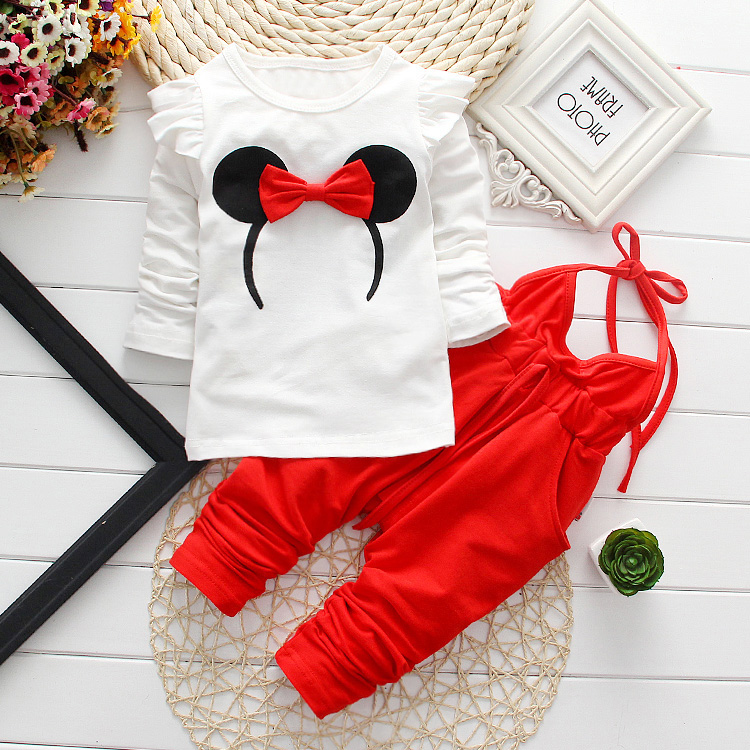 купить Baby Girl Clothes 2017 Spring Autumn Cartoon Long Sleeved T-shirts Tops + Overalls 2PCS Outfit Kids Bebes Jogging Suit Tracksuit недорого