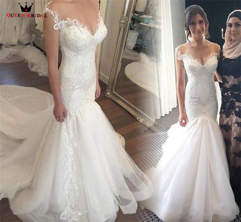 Custom Made Mermaid Long Train Lace Beading Tulle Sexy Formal Luxury Wedding Dresses Wedding Gowns Vestido De Noiva JW99