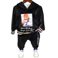 Spring Autumn boys 2 pcs set thick baby hooded sweatshirt + pants kids suit children set glitter striped letter tape 2 to 7 yrs