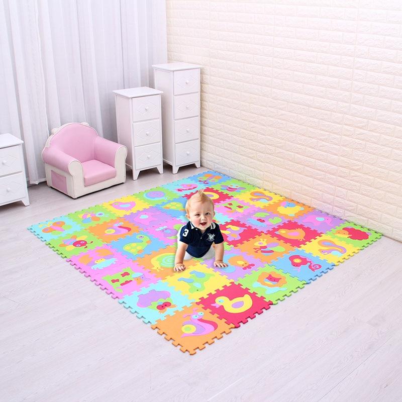 Meiqicool tapete para bebês, tapete de eva com animais para brincadeiras, quebra-cabeça de eva com 18 ou 36/lote, intertravamento para criança, cada 30cmx30cm