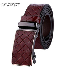Automatic Buckle Mens Belts Luxury Brand Designer Belts High Quality Genuine Leather Plaid Belts of Men Real Cowskin Ceinture